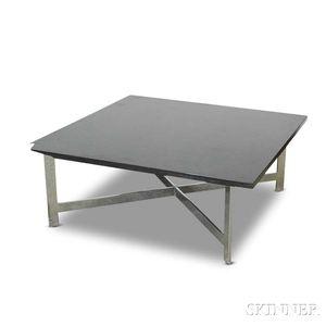 Modernist Slate and Polished Steel Coffee Table