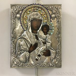 Russian Icon with Enameled and Silvered Metal Riza of the Kazan Mother of God