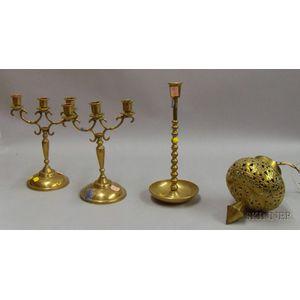 Four Brass Light Items