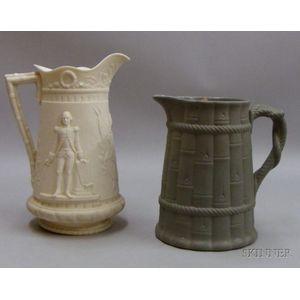 Two English Stoneware Pitchers