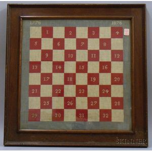 Walnut Framed Needlework 1776-1876 Centennial Commemorative Checkerboard