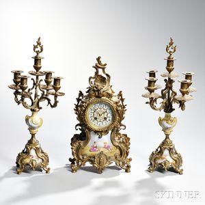 Three-piece Louis XV-style Cast Gilt-metal and Ceramic Garniture