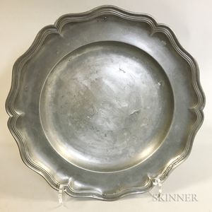 English Scalloped Pewter Charger