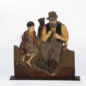 Painted Relief Carving of a Fishing Scene