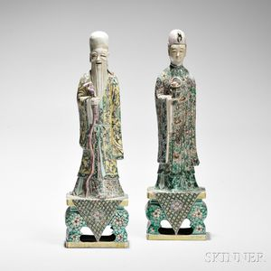 Pair of Famille Verte Figures of Immortals