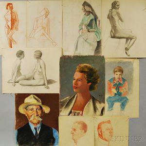 Adriaan Barnouw (Dutch/American, 1877-1968)      Fifteen Figural Works on Paper