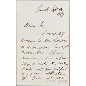 Emerson, Ralph Waldo (1803-1882) Autograph Letter Signed, Concord, 24 September 1867.