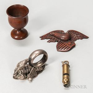 Carved Eagle, Carved Constitution   Cup, and a Whistle