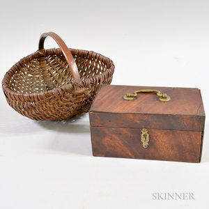 Woven Handled Basket and Wooden Box