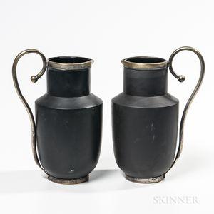Pair of Wedgwood Metal-mounted Black Basalt Jugs