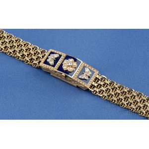 14kt Gold, Enamel Diamond Covered Watch