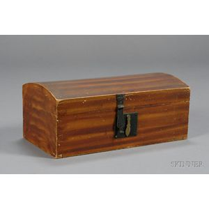 Small Vinegar Stripe Grained Dome-Top Pine Box