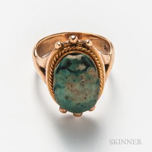 14kt Gold and Faience Scarab Ring