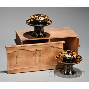 Pair of Lacquered Cup Stands and Covers