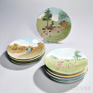 Eleven Limoges Porcelain Uncle Remus Plates