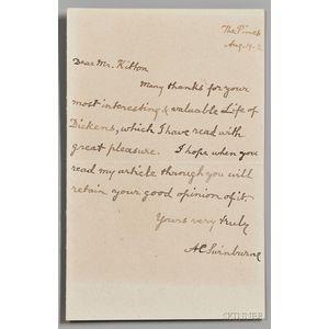 Swinburne, Algernon (1837-1909) Autograph Letter Signed, 19 August 1902.