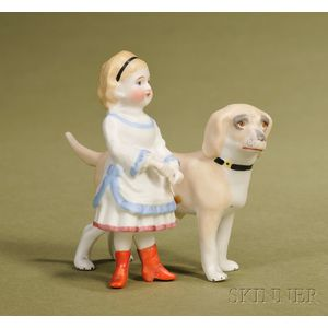 Bisque Figurine of a Child and Dog