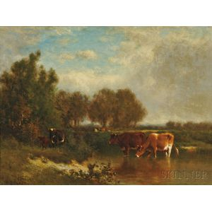 William Hart (American, 1823-1894)      Cattle Watering, Early Autumn