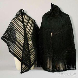 Two Bonwit Teller Black Victorian-style Shawls