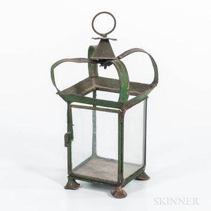 Green-painted Tin Hanging Lantern
