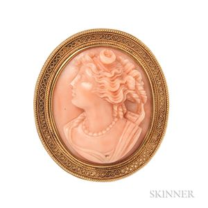 Antique Gold and Coral Cameo Brooch