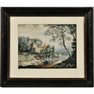 Continental School, Early 19th Century    River Scene with Figures and Church