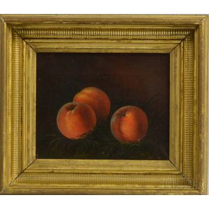 American School, 19th Century      Still Life with Three Peaches in the Grass