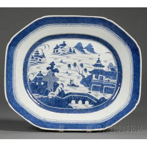 Blue and White Canton Porcelain Platter