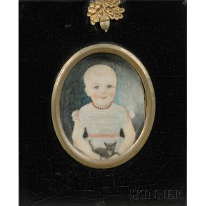 Portrait Miniature of a Blond-haired Child with a Kitten