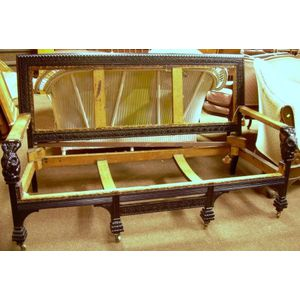 Victorian Ebonized Carved Settee Frame with Carved Owl Arm Supports