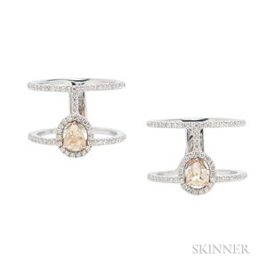 Pair of 18kt Gold, Colored Diamond, and Diamond Rings