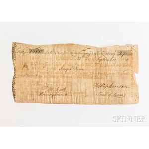 Hopkinson, Francis (1737-1791) Signed $1,200 Thirty-Day Sight Draft, 25 September, 1778.