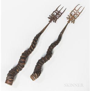Two Blackbuck Antelope Horns Mounted as Forks