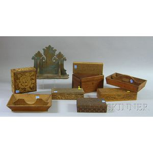 Two Wooden Cutlery Trays, a Small Blue-painted Carved Wooden Wall Shelf, and Six   Wooden Boxes