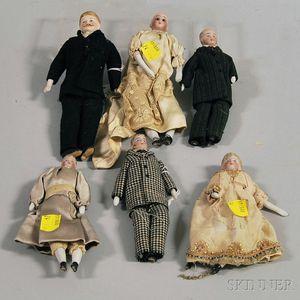 Six Bisque Shoulder Head Dollhouse Dolls