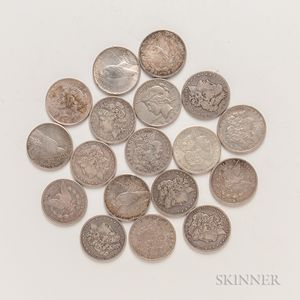 Thirteen Morgan Dollars and Five Peace Dollars.     Estimate $250-350