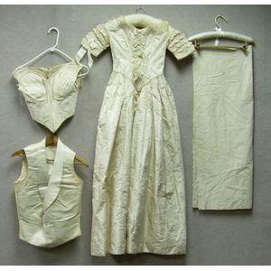 Victorian Creme Silk Brocade Wedding Gown