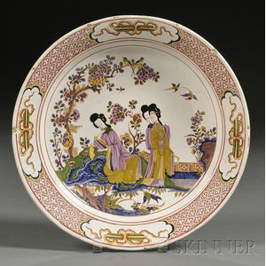 Dutch Polychrome Decorated Delft Charger