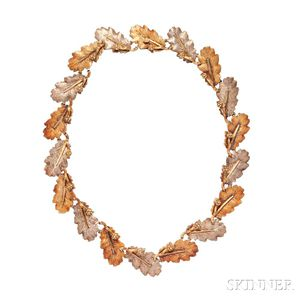 18kt Gold and Sterling Silver Leaf Necklace, Buccellati