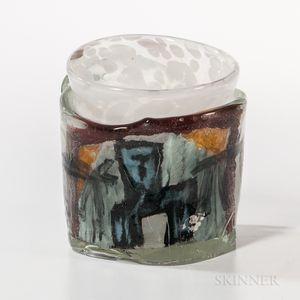 Valentin Eisch Cage Cup   Art Glass Sculpture