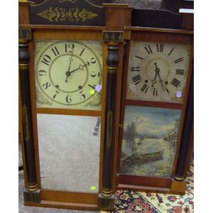 Two George Mitchell Ebonized and Stencil Decorated Mahogany Veneer Split Baluster   Mantel Clocks