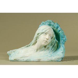 Lachenal Turquoise Glazed Pottery Frieze of a Nymph