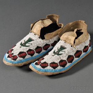 Pair of Arapaho Beaded Hide Moccasins
