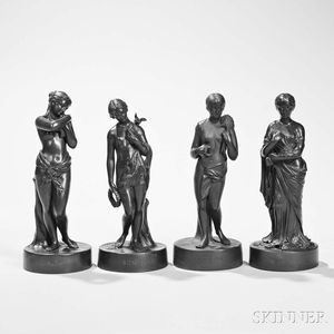 Set of Four Wedgwood Black Basalt Classical Figures