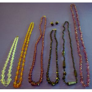 Six Amethyst, Crystal, and Glass Bead Necklaces