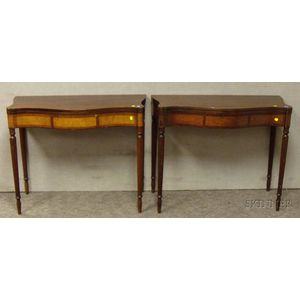 Pair of Sheraton-style Inlaid Mahogany Serpentine Card Tables.
