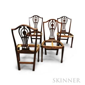 Set of Four Federal Mahogany Side Chair Frames