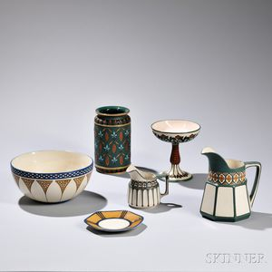 Six Mettlach Pottery Tableware Items