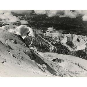 Bradford Washburn (American, 1910-2007)      Two Views: Negative #5221 (Snowshoeing Figures)