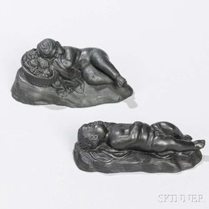 Two Wedgwood Black Basalt Sleeping Boys